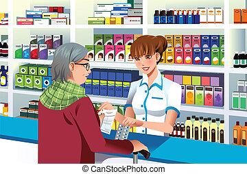 farmacêutico, ajudando, um, pessoa idosa