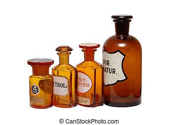 farmacêutico, antiga, phials
