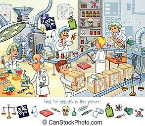 farmacêutico, factory., achar, 15, objetos, em, a, quadro