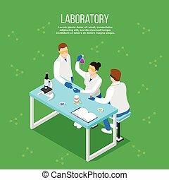 farmacêutico, isometric, composição, laboratório