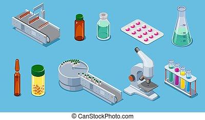 farmacêutico, isometric, elementos, jogo, indústria