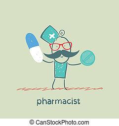 farmacêutico, segurar uma cápsula, e, tabuleta