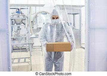 farmacêutico, trabalhador laboratório, cofre levando
