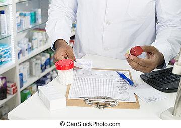 farmaceuta, kantor, butelki, clipboard, pigułka