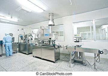farmaceutisch, lijn, fabriekshal, technici, werkende