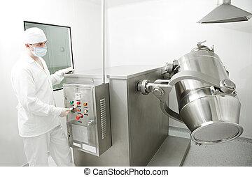 farmaceutisk, arbejder, fabrik