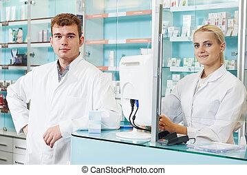 farmaceutisk, arbejdere, ind, drugstore