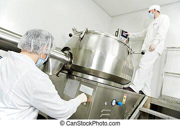 farmaceutisk, arbetare, fabrik