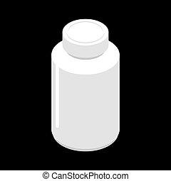 farmaceutisk, behållare, isolated., medicinsk, kruka, medicines., illustration, plastisk, lertavlor