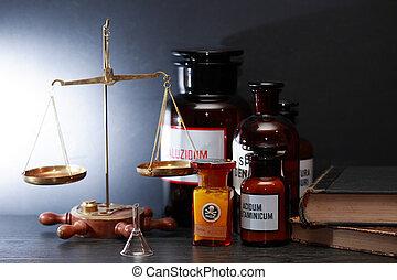 farmaceutisk, gammal, utrustning