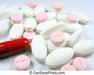 farmaceutisk, olik, färg, medicinsk, uppe, förgiftar, nära