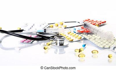 farmaceutisk, olik, stoppa, stetoskop