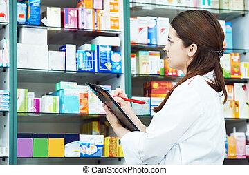 farmacia, chimico, donna, in, farmacia