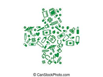 farmacia, croce, elementi, verde
