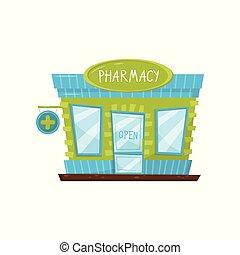 farmacia, facade costruzione, con, cartello, porta vetro, e, windows., esterno, di, farmacia, in, cartone animato, style., appartamento, vettore, disegno