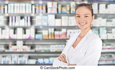 farmacia, farmacéutico, joven