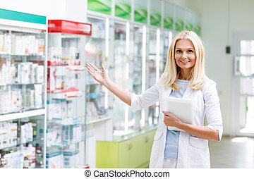 farmacia, farmacéutico, tableta, digital