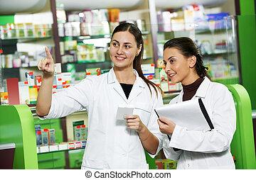 farmacia, farmacia, químico, mujeres