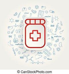 farmacia, fondo., vettore, sanità, handdrawn, doodles, pillola, icona