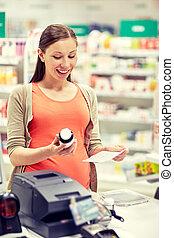 farmacia, mujer, medicación, feliz, embarazada