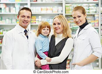 farmacia, niño, químico, farmacia, madre