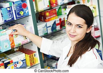 farmacia, químico, mujer, en, farmacia