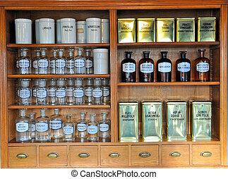 farmacia, vacío, viejo, botellas, olor