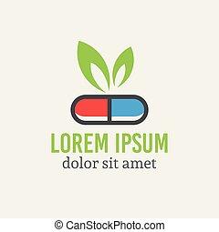 farmacologia, foglia, capsula, verde, logotipo, pillola