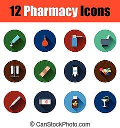 farmacy, conjunto, iconos