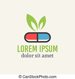 farmakologi, blad, kapsel, grön, logo, pill