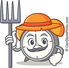 Farmer alarm clock character cartoon