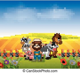 farmer and animal farm with scenery field