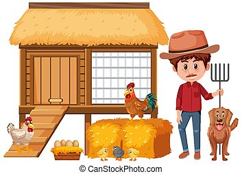 Farmer and chicken coop on white background
