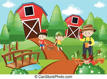Farmer and children working in the farm