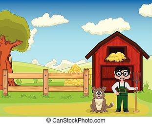 Farmer and dog at the farm