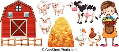 Farmer and farm animals
