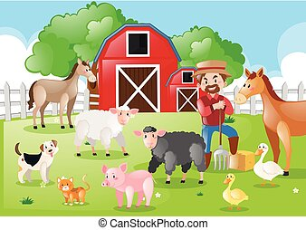 Farmer and farm animals in the farmyard