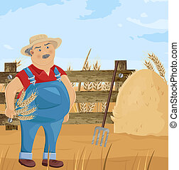 Farmer and hay cartoon character Vector. Funny man with spud cleaning