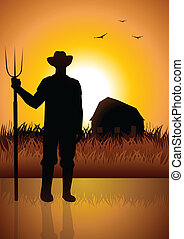 Silhouette illustration of a farmer and his barn