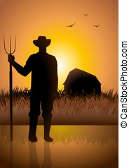 Farmer and His Barn - Silhouette illustration of a farmer ...