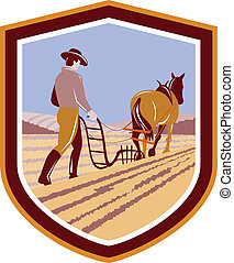 Farmer and Horse Plowing Farm Field Crest Retro
