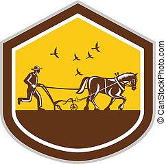 Farmer and Horse Plowing Field Shield Retro