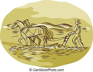Farmer and Horses Plowing Field Oval Etching
