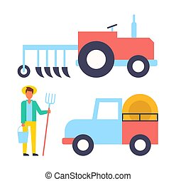 Farmer and machinery icons set. Person with hayfork bucket and tractor. Trailer transporting hay farming man with tools equipments isolated vector signs