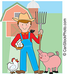 Farmer and Pig - A smiling farmer stands in his barnyard ...