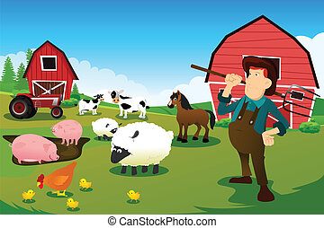 Farmer and tractor in a farm with farm animals and barn