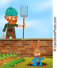 Farmer angry at rabbit in the farm