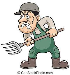 Farmer angry - illustration of Cartoon Farmer angry