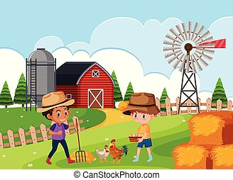 Farmer at farm land