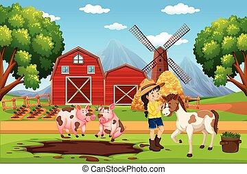 Farmer at farm landscape